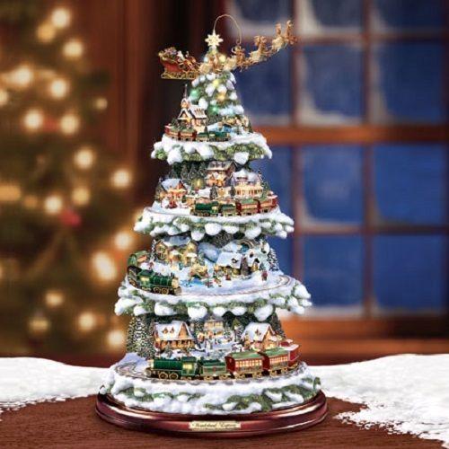 Nice Wonderland Express Christmas Train Tree   Bradford Exchange