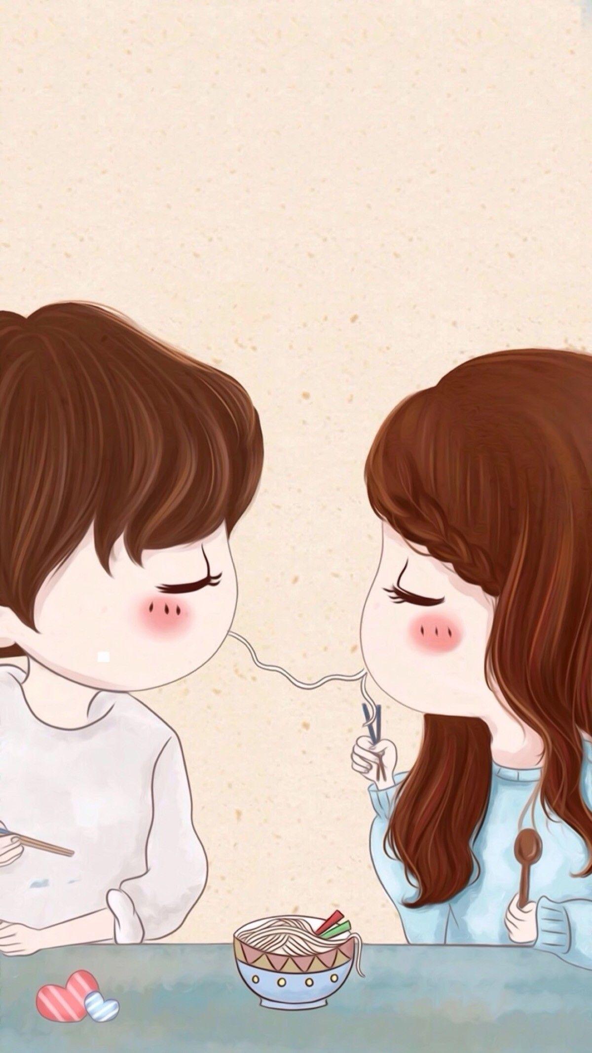Pin By Rose On Love Cute Couple Cartoon Cute Couple Wallpaper Cute Chibi Couple