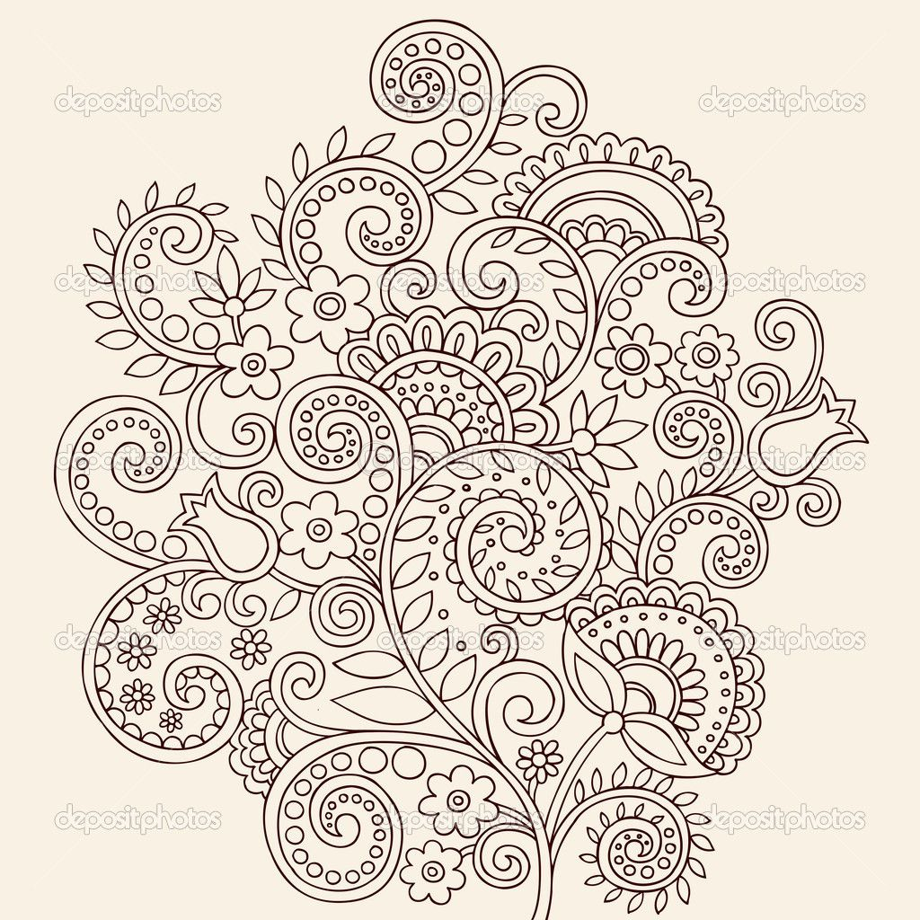 Henna Mehndi Paisley Flowers and Vines Doodle Vector — Imagens ...