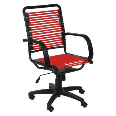 Euro Style Bungie Flat High Back Office Chair Red/Graphite Black - EUS1235-2