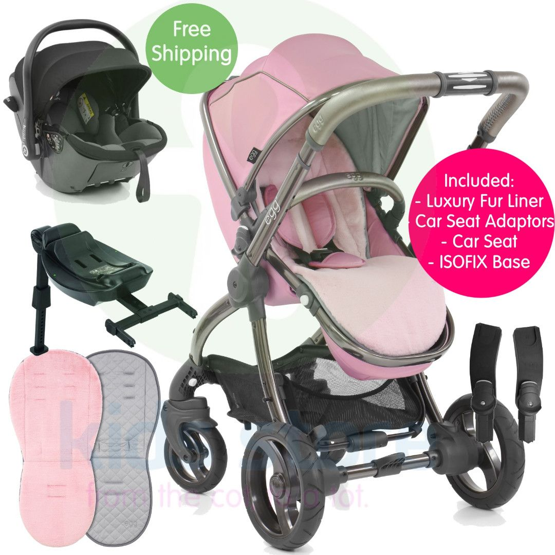 Egg Pram Gunmetal Egg Strictly Pink Stroller With Kiddy Evoluna I Size Car
