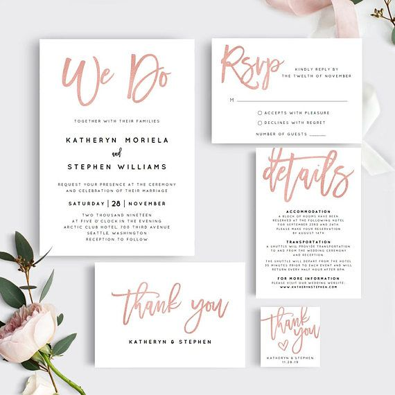 Rose Gold We Do Wedding Invitation Template Download | Wedding ...