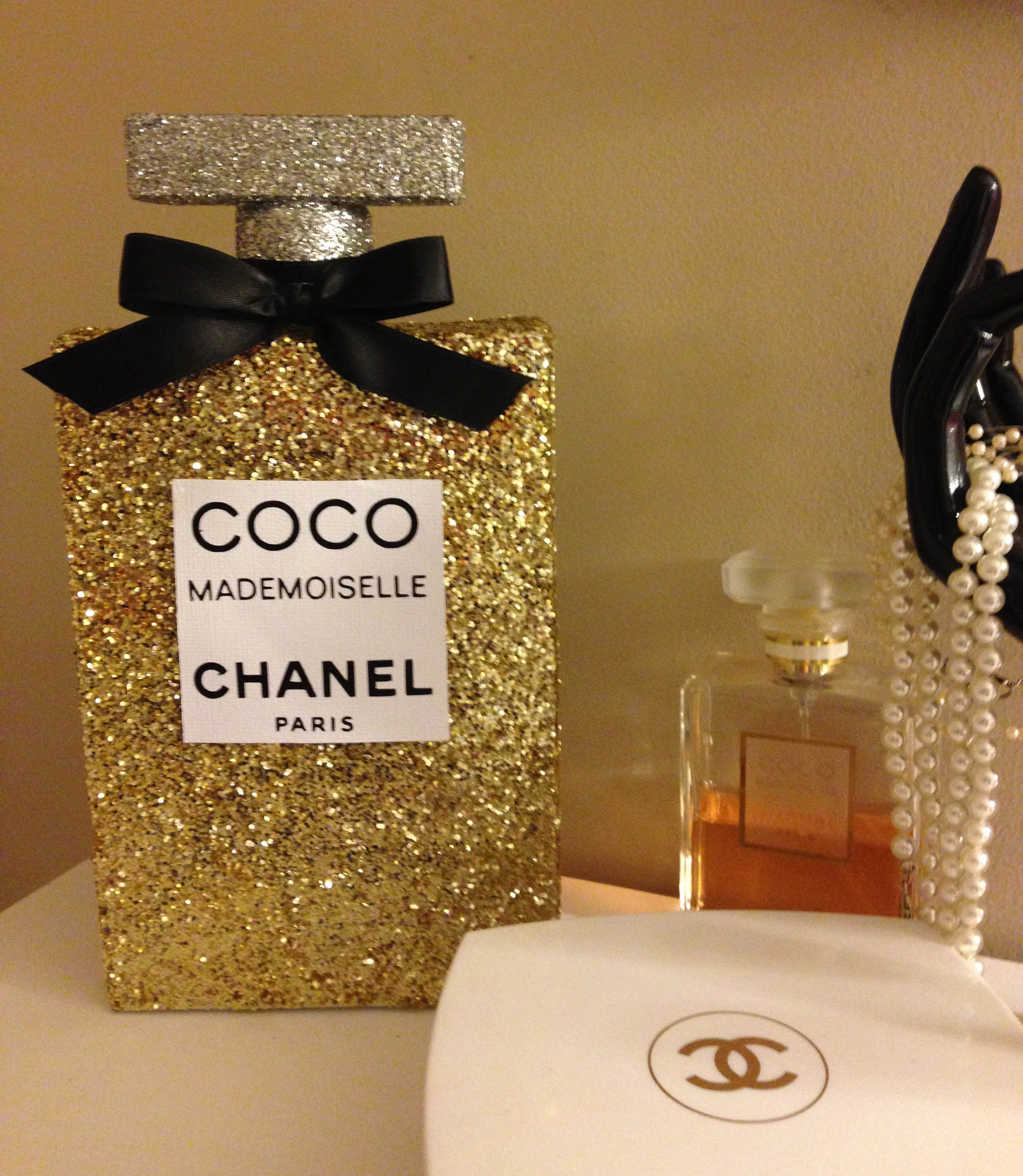 glitter coco chanel Mademoiselle 3D perfume bottle I made  )  DIY ... 41be83141d