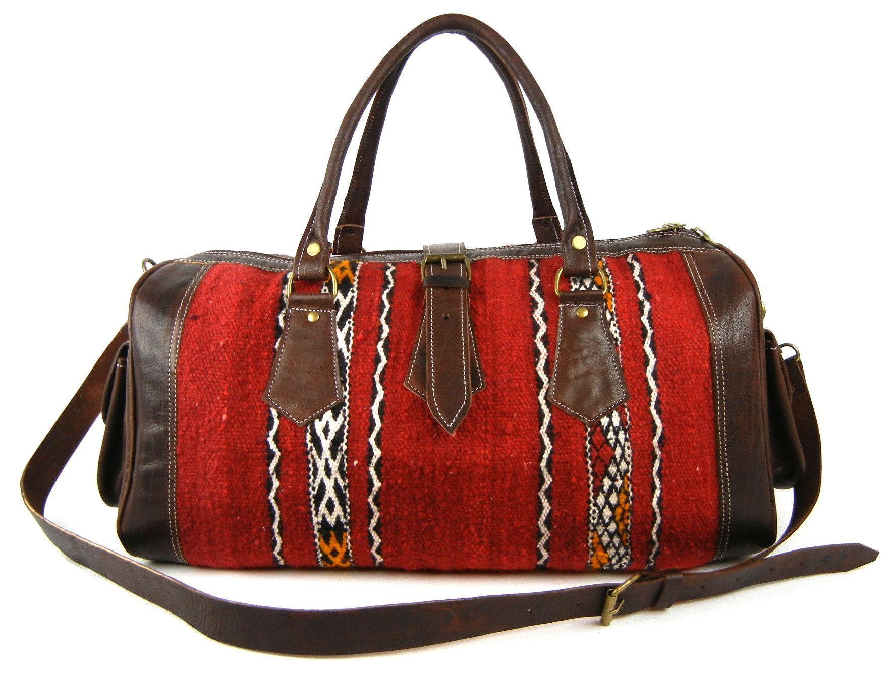 Yara - Berber Kilim and Leather Duffle Bag - Medium  37f4fa55c55a6