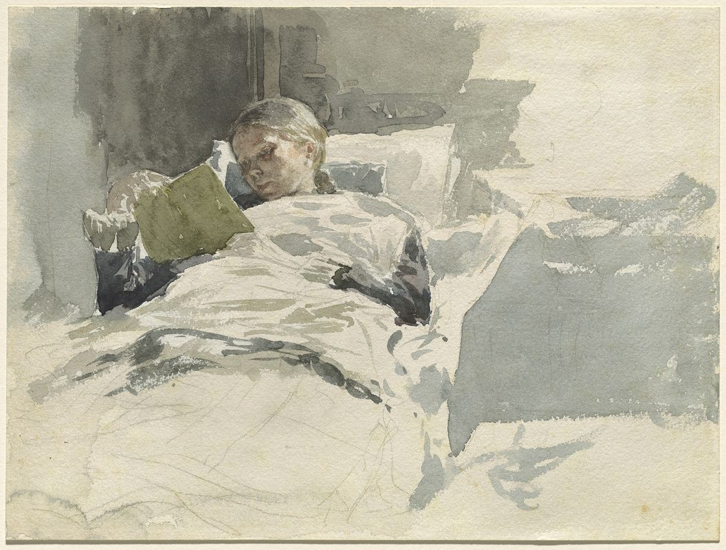 The Artist's Wife Reading in Bed (1885/1890). Leopold von Kalckreuth (German, 1855-1928). Watercolor over graphite on wove paper, laid down sheet. National Gallery of Art.