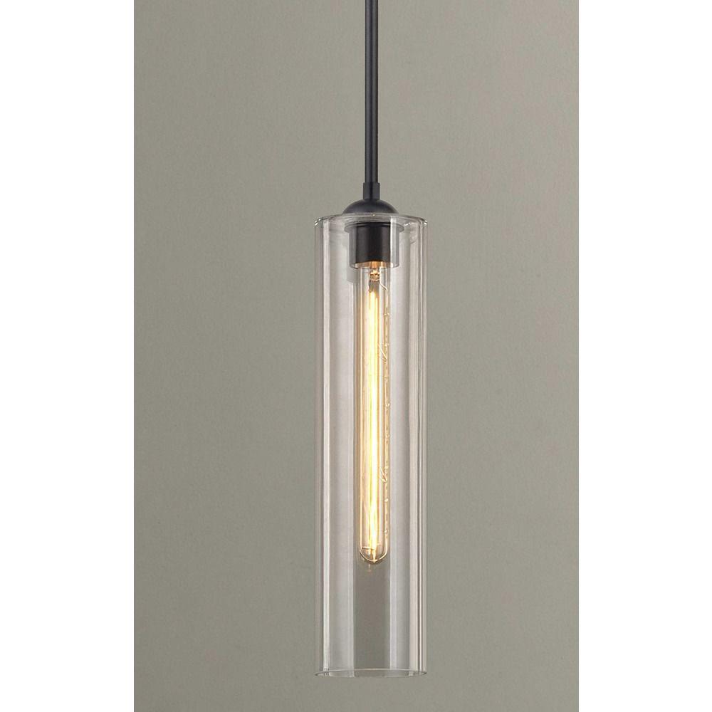 black mini pendant light. Design Classics Lighting Black Mini-Pendant Light With Clear Cylinder Glass 581-07 GL1640C Mini Pendant