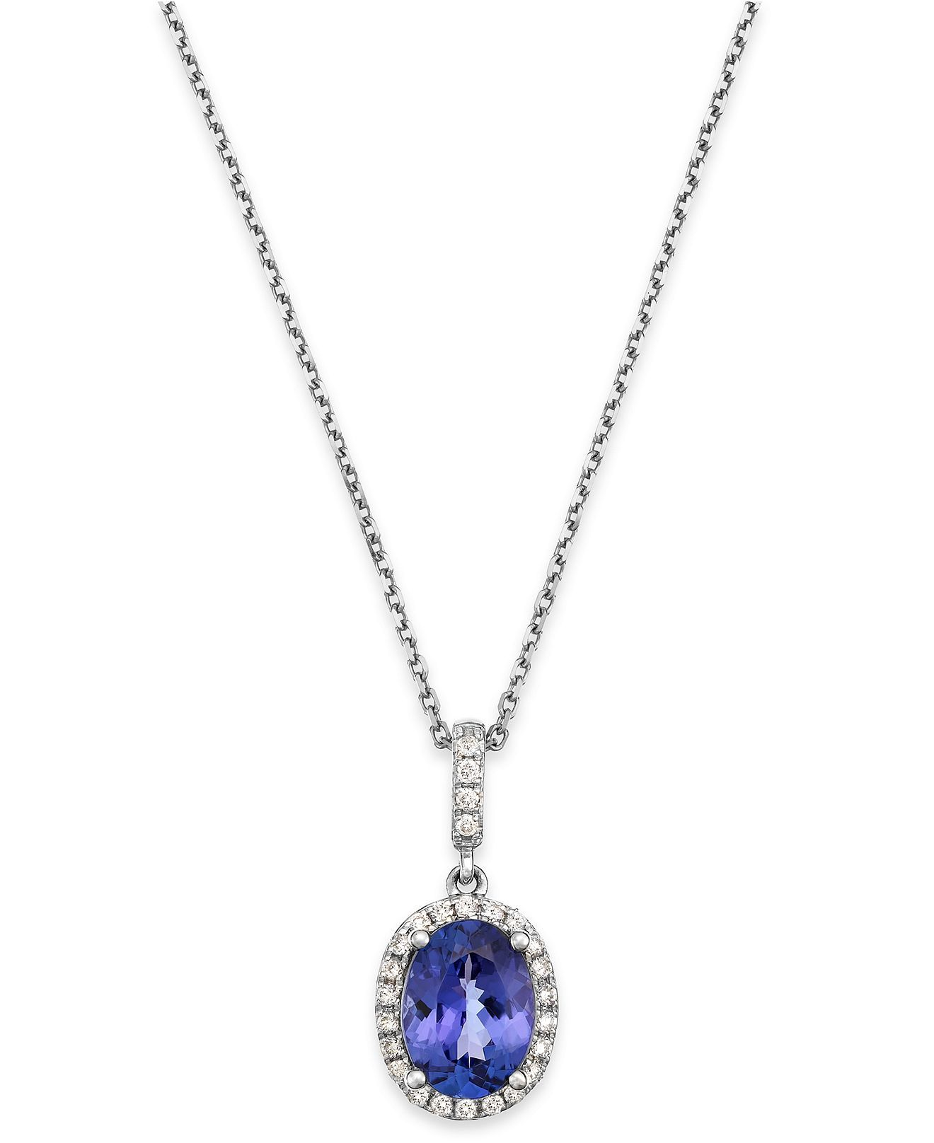 Tanzanite ct tw and diamond ct tw oval pendant