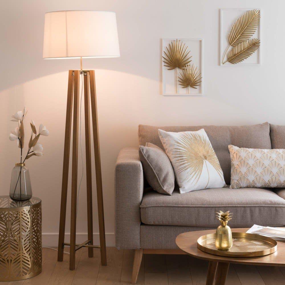 Dreifuss Stehlampe Aus Eichenholz Mit Weissem Lampenschirm H160 En 2020 Lampes Salon Abat Jour Blanc Lampadaire Maison Du Monde