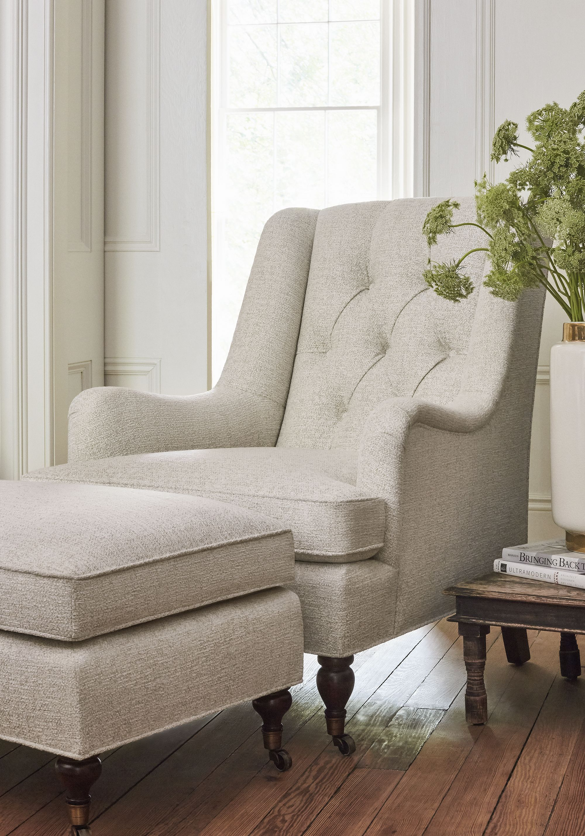 Newport wing chair and brookline ottoman in shiloh woven fabric in heather linen