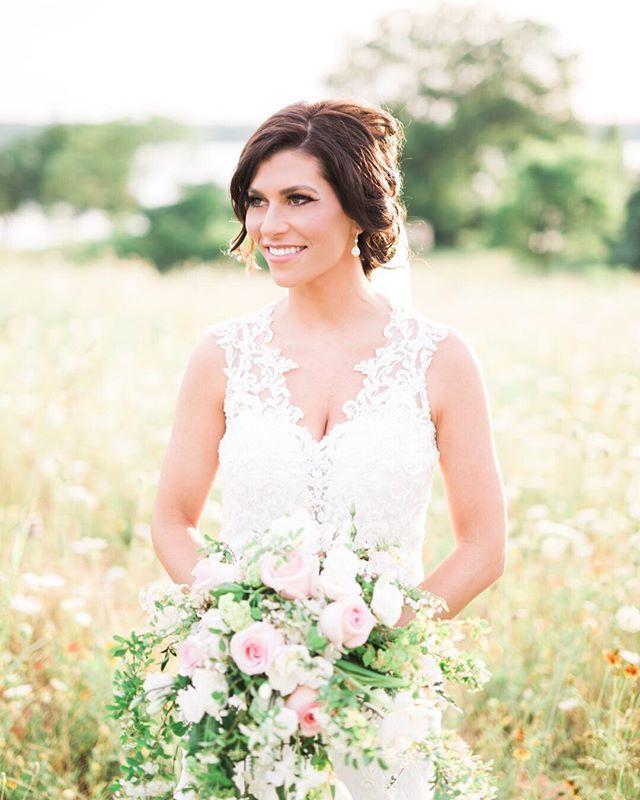 Demetrios Wedding Dress Pink And Green Bouquet Updo Makeup