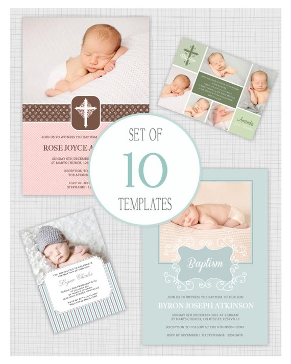 INSTANT DOWNLOAD 10 PSD Baptism And Christening Invitation