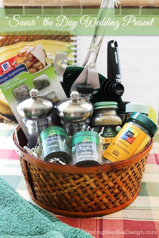 Savor the Day Wedding Gift Basket- a fun gift with cooking supplies and plenty of spices