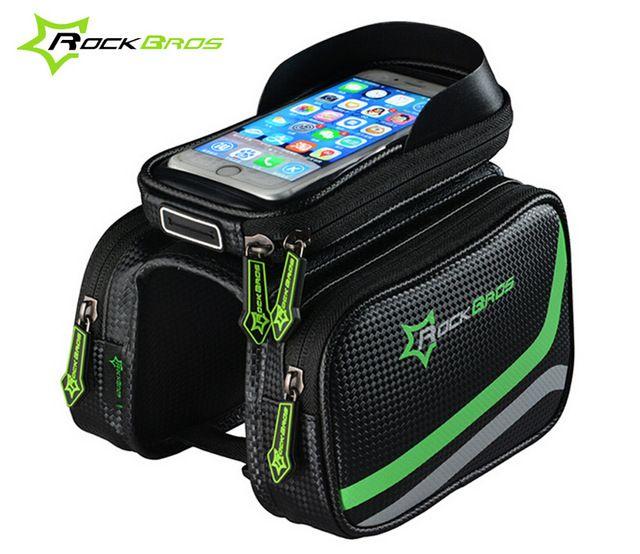 "RockBros MTB Bike Waterproof Front Tube Bag 6.2/"" Touch Screen Phone Case"