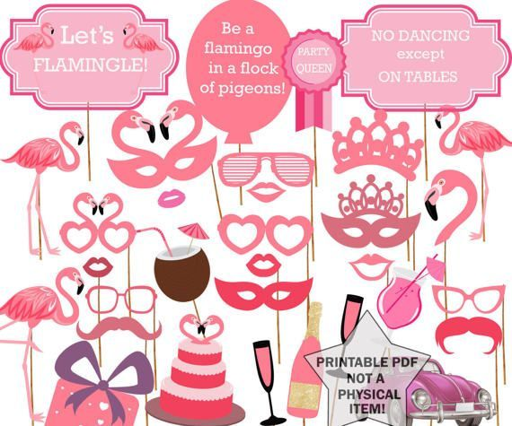 Flamingo Party Photo Booth Props: BIRTHDAY PARTY PROPS Pink Photobooth Props Pink Tropical Party B #tropicalbirthdayparty