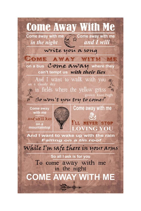 Lyric come away with me lyrics : Nice option for a last dance song - from Come Away With Me by ...