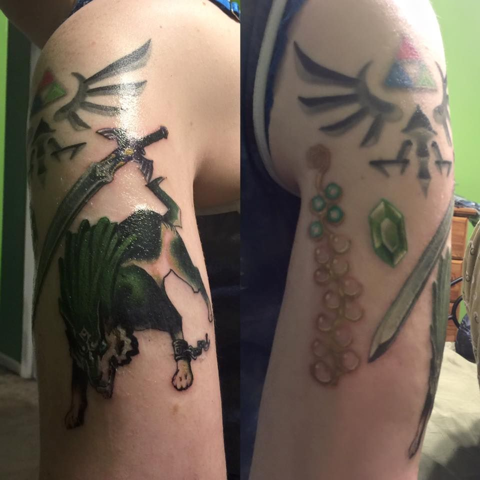 Legend Of Zelda Twilight Princess Half Sleeve Sorry For The Weird Angle Princess Tattoo Zelda Twilight Princess Princess Half