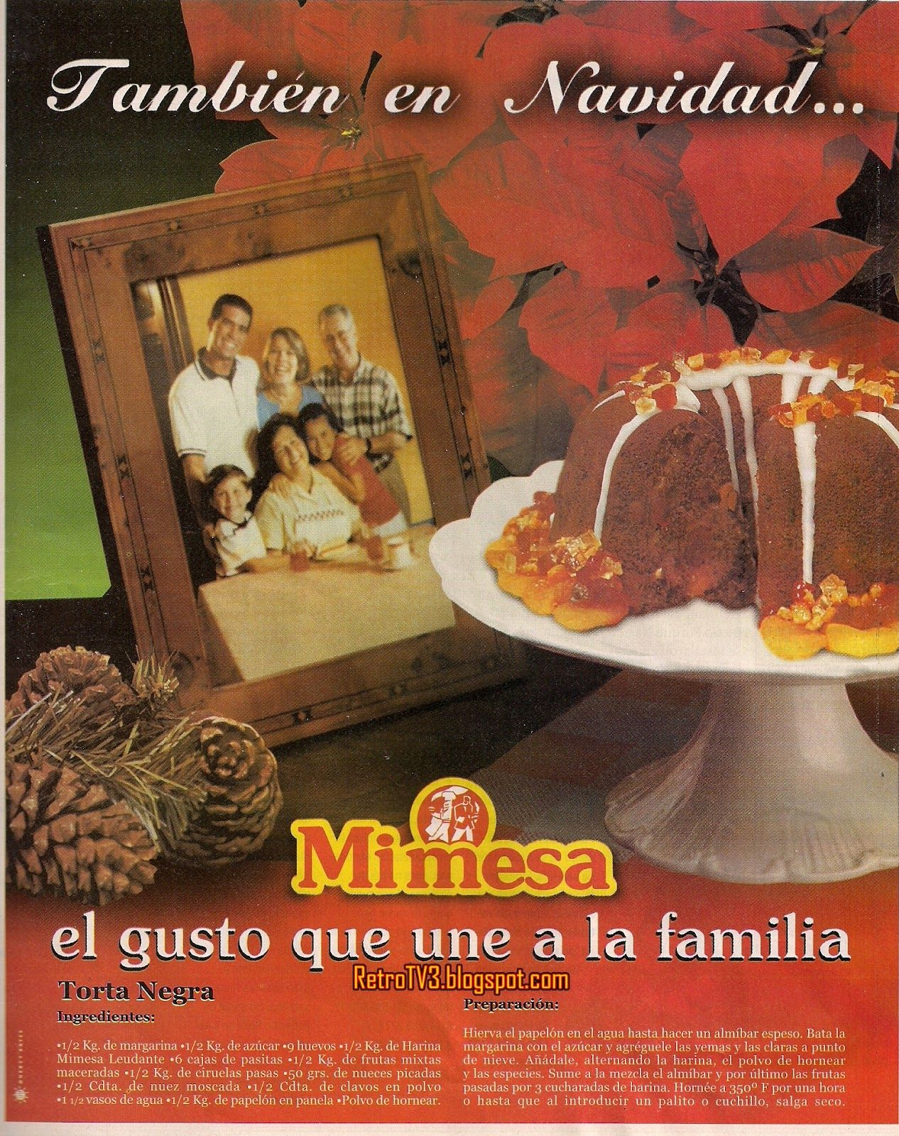 Publicidad retro en Venezuela  Torta Navidea Mi Mesa
