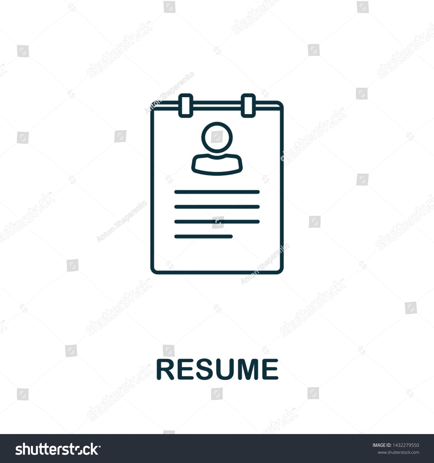Resume Vector Icon Symbol In Outline Style Creative Sign From