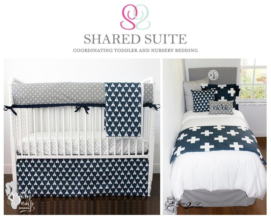 Navy Grey Swiss Cross Sibling Shared Suite Bedding Collection Baby And Toddler Room