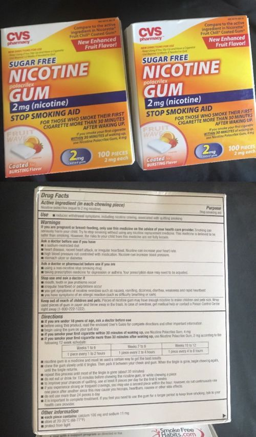 Gum and Lozenges: New 2 Pack Cvs Sugar Free Nicotine Gum Fruit Wave 100Pc Ea 2Mg (200Pc Total) -> BUY IT NOW ONLY: $35.04 on eBay!