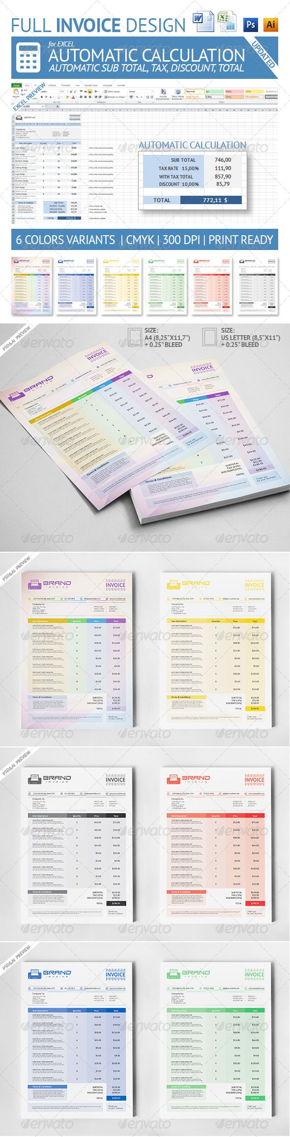 Excel Template For Invoice Prepossessing Invoice  Pinterest  Template Psd Templates And Business Proposal