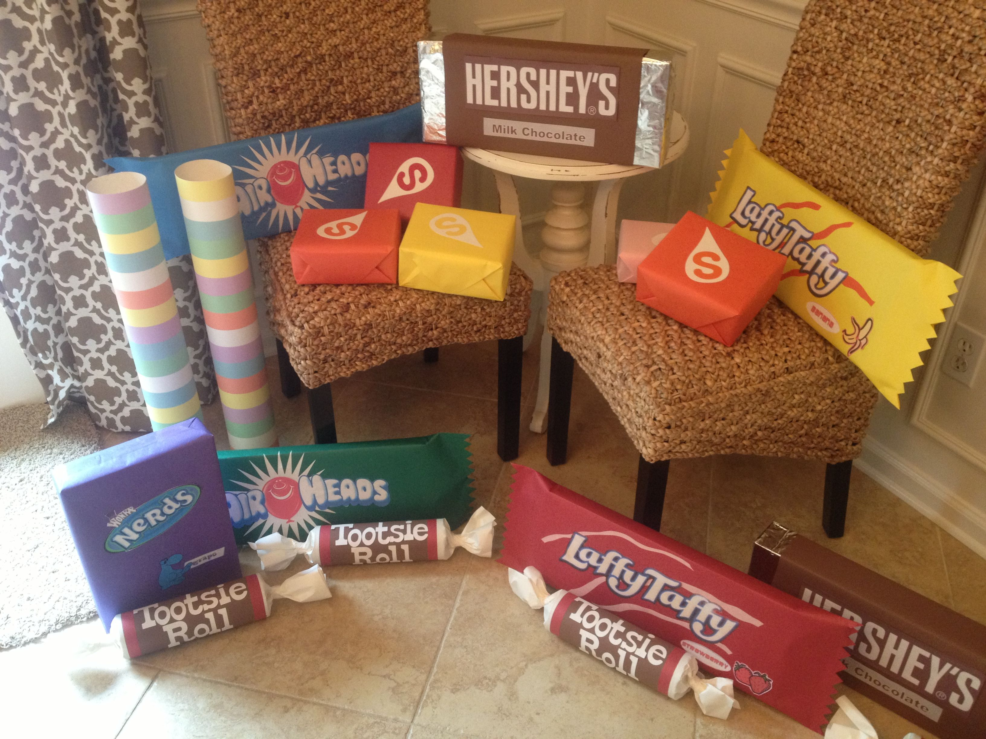 Candy props-any box or cardboard tube can be paper wrapped or painted to resemble candy #candylanddecorations