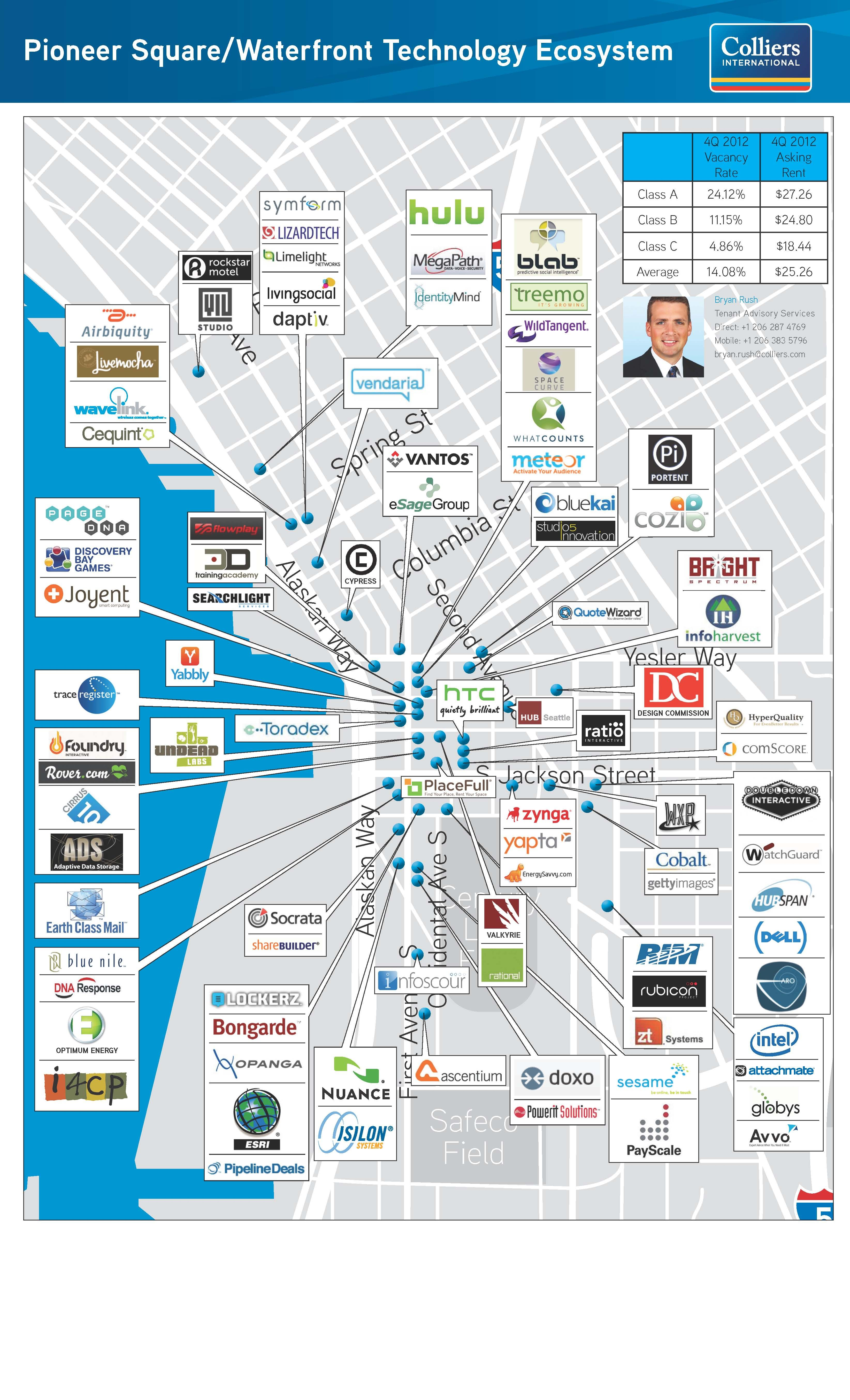 Pioneer Square Tech Map Agile Impact Pinterest Map Seattle