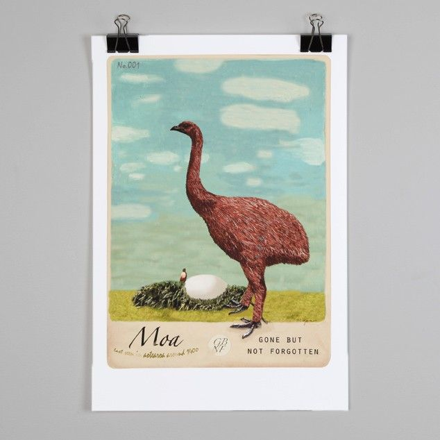 Moa Print By Marika Jones Nz Art Prints Poster Store Endemicworld Com Nz Art Poster Prints Art