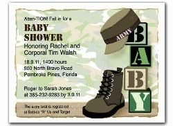 Military Baby Shower Invitations Army