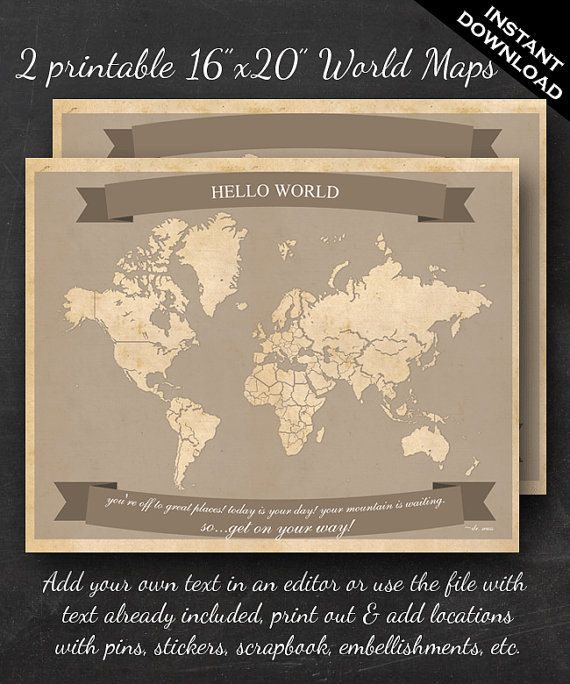 World travel maps printable world travel map instant download 16 world travel maps printable world travel map by geeklingbooks gumiabroncs Image collections