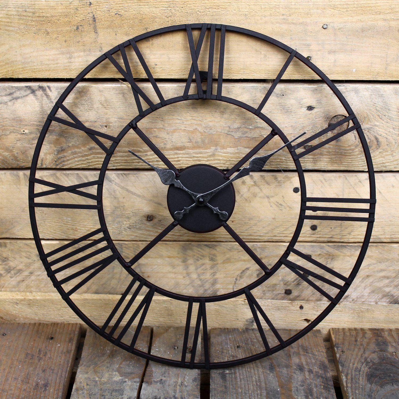 Large Outdoor Garden Wall Clock Big Roman Numerals Giant Open Face Metal 40 60cm Ebay Roman Numeral Wall Clock Roman Numeral Clock Wall Clock