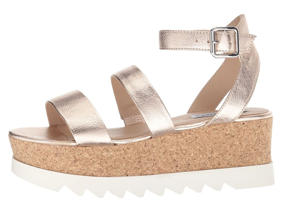 5379c6de3025 Steve Madden Kirsten Cork Platform Wedge Sandal Women s Shoes Rose Leather