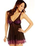 Temptation  Shear black babydoll with purple accents and scalloped lace trim is loose-fitting to flatter all body types. Underwire cups have no padding for those looking for a more natural look with a lift. Matching thong included. - See more at: http://www.undercoverwear.com/PublicStore/stores/HeidiWinslow/AM/product/Temptation,17190,245.aspx#sthash.FvABnPiw.dpuf
