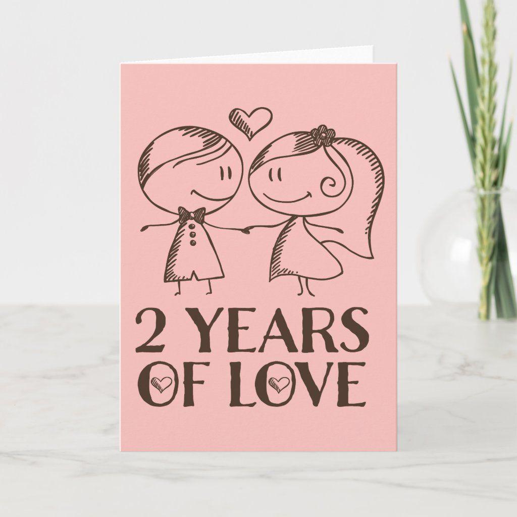 2nd Anniversary Hand Drawn Couple Greeting Card Zazzle Com Anniversary Cards Handmade Anniversary Greeting Cards Diy Anniversary Gifts For Him