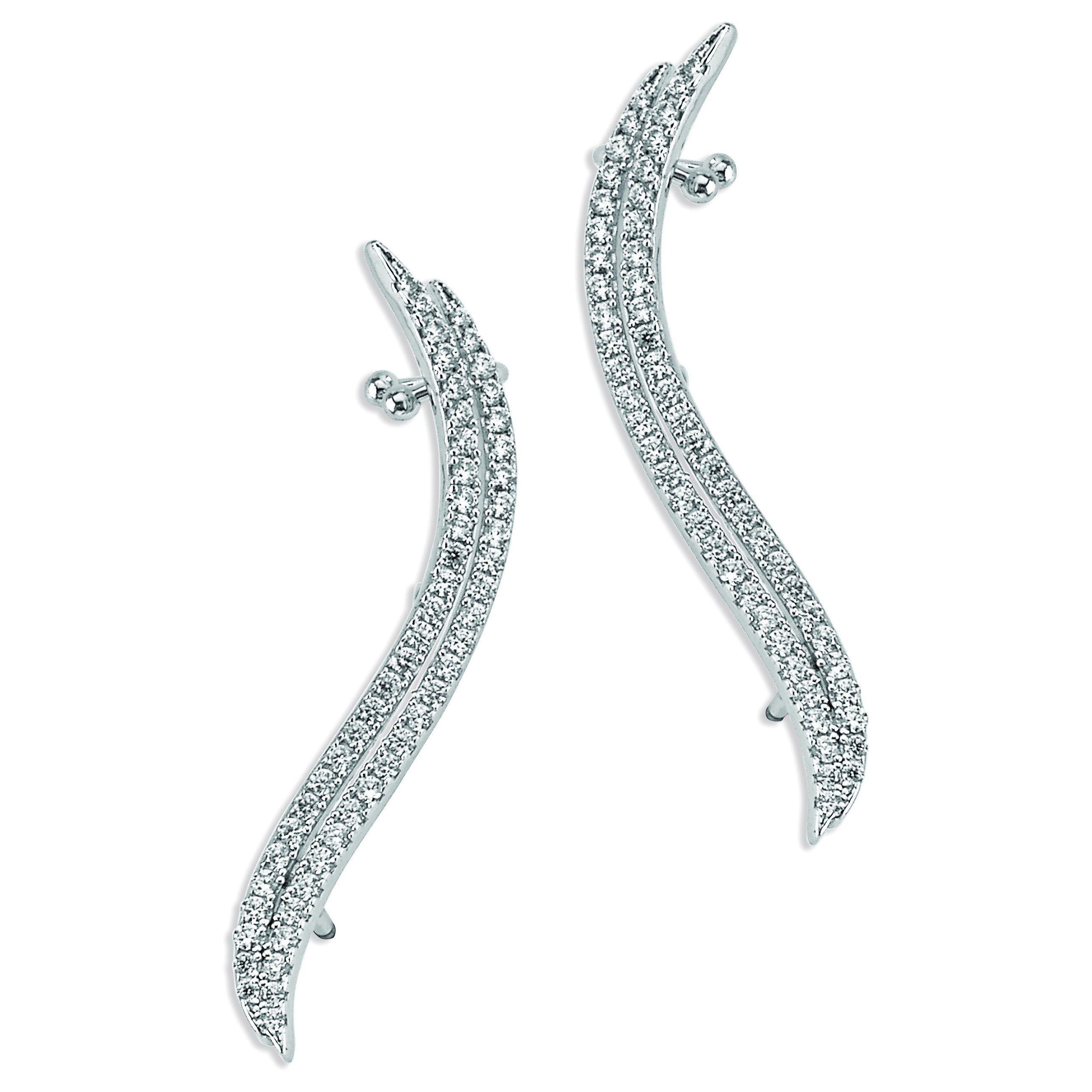 Plated Sterling Silver Cubic Zirconia Ear Climbers (Sterling Silver CZ Ear Climbers), Women's, Size: Small, White