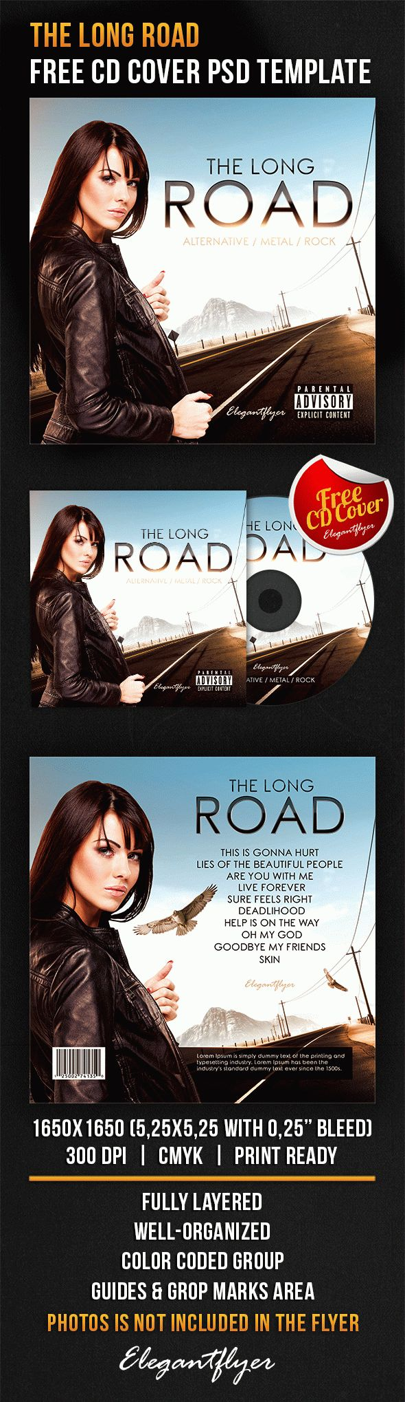 the long road free cd cover psd template free cd dvd cover