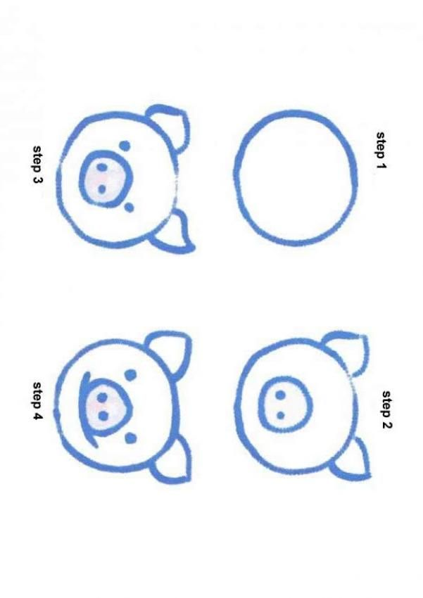 4 Step Sequence To Draw Simple Animals