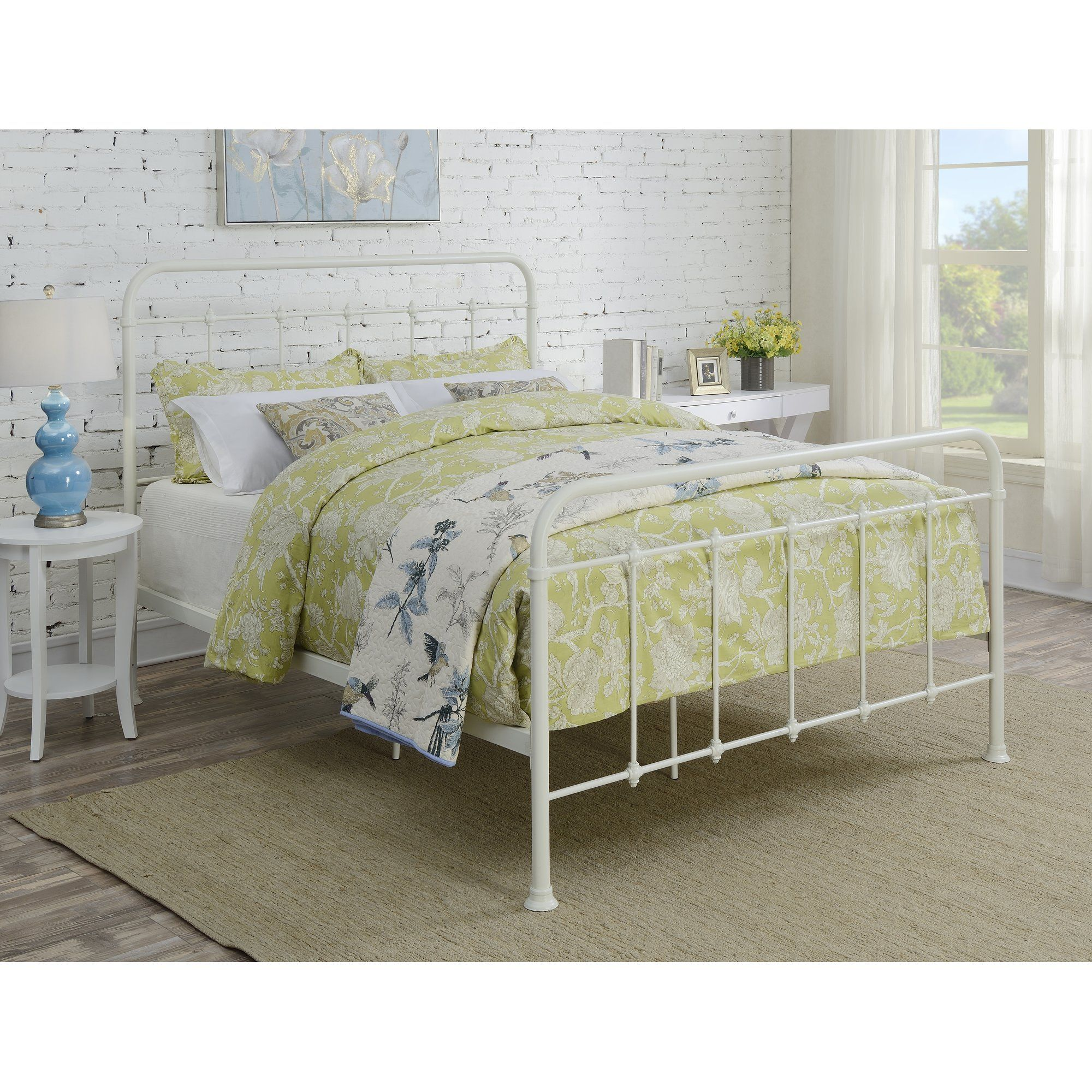 Penix Curved Metal Queen Panel Bed White metal bed