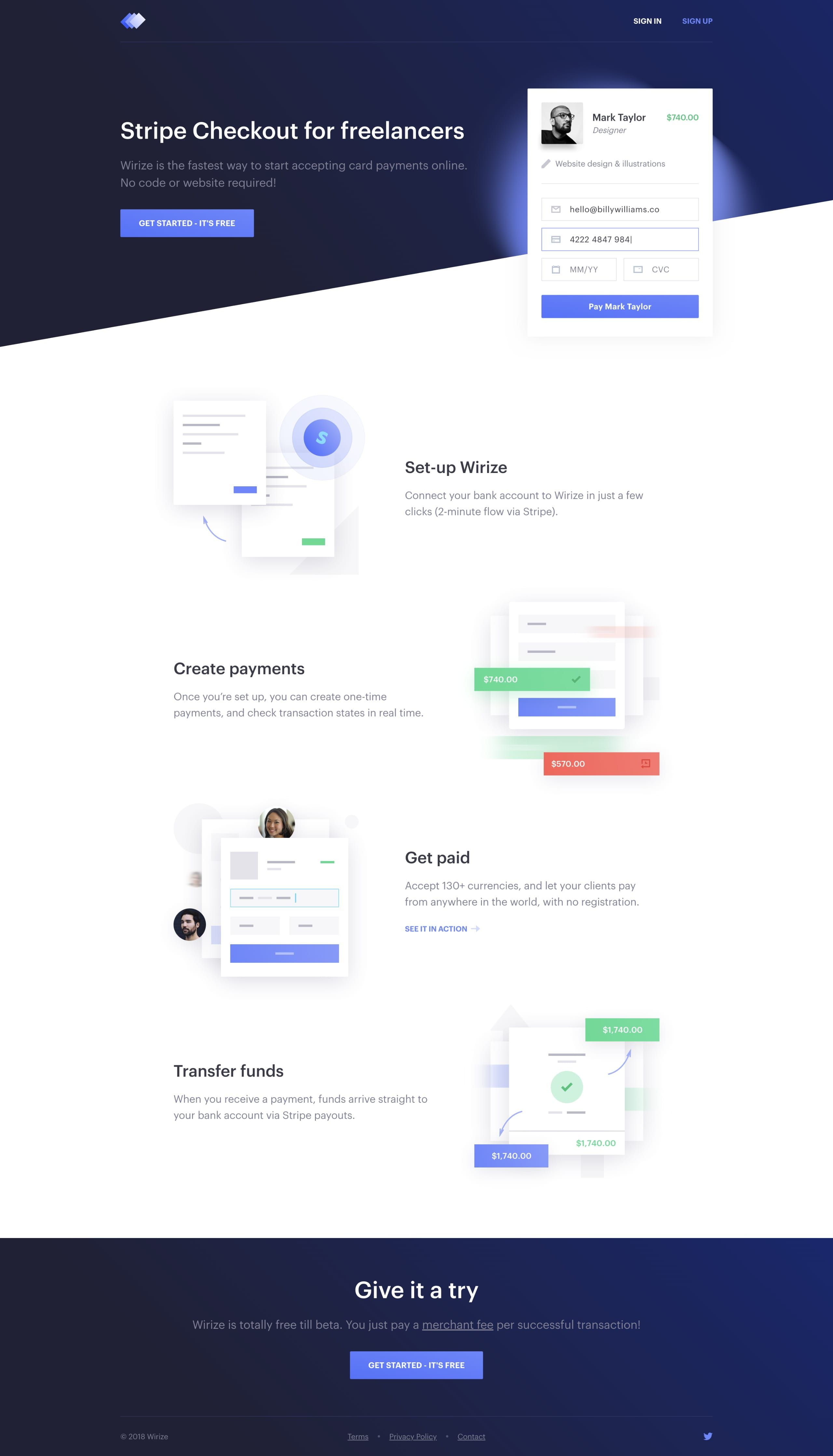 Beautiful Designed Landing Page For Wirize A Simple Stripe Checkout Service For Freelancers Landing Page Design Web Design Web Design Inspiration