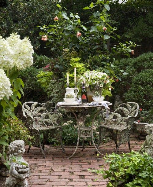 lush garden, brick patio
