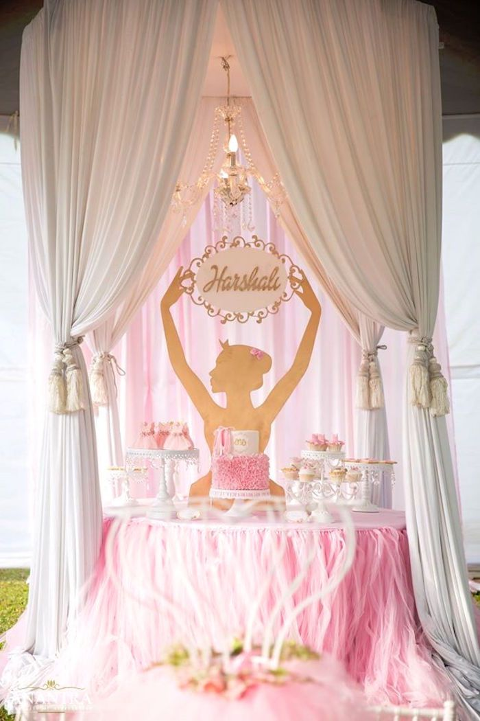 Elegant ballerina birthday party on kara 39 s party ideas for Ballerina party decoration ideas