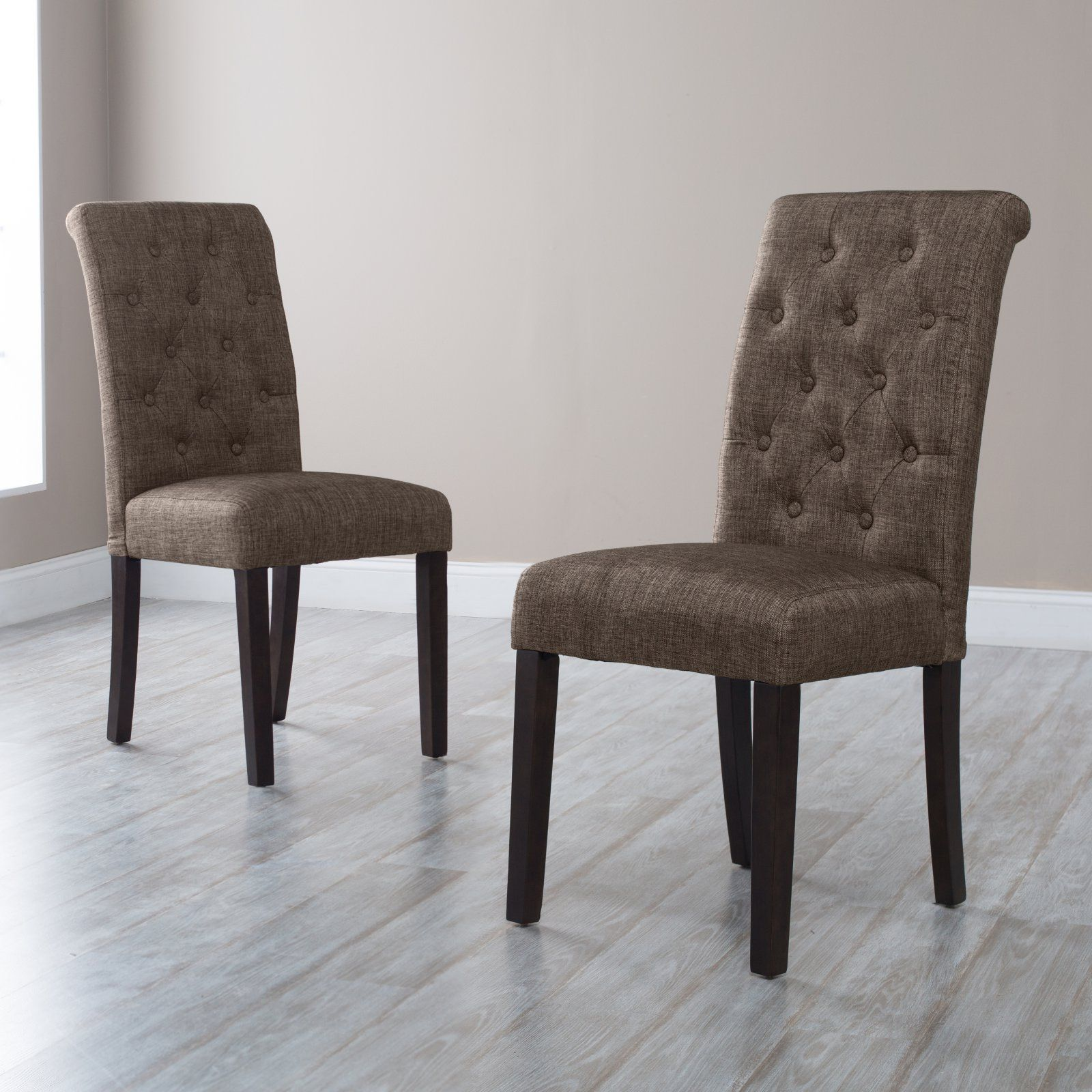 Morgana Tufted Parsons Dining Chair Set Of 2 Onyx Products In 2019 Tufted Dining Chairs Leather Dining Room Chairs Parsons Dining Chairs