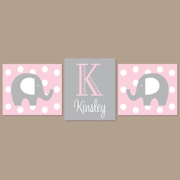 Light Pink Gray Nursery Elephant Wall Art Decor Baby
