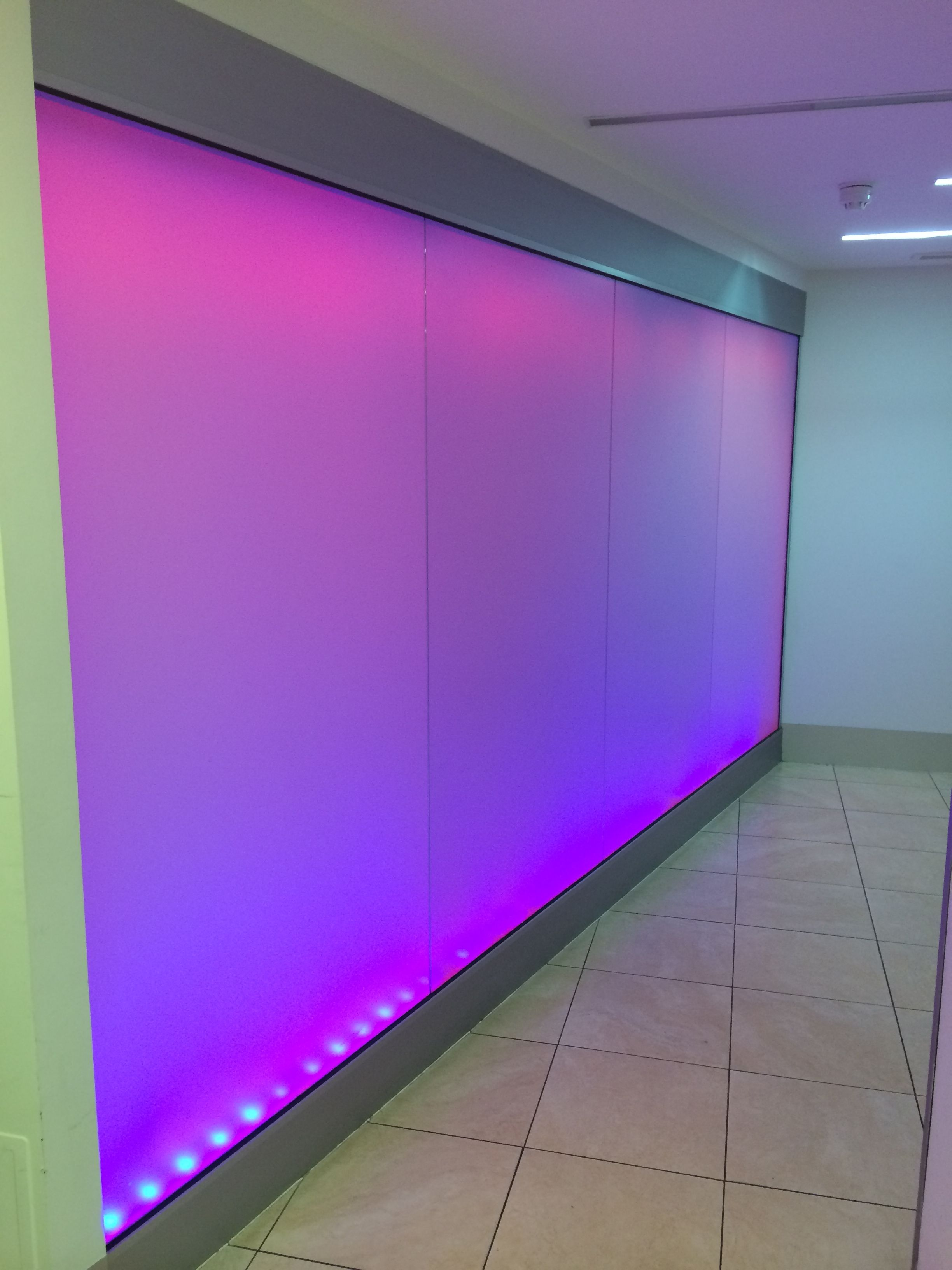 This Is An Installation Of Frameless Glass Partitioning With Back Frosted Film And Led Colour Ch Glass Partition Glass Office Partitions Office Interior Design