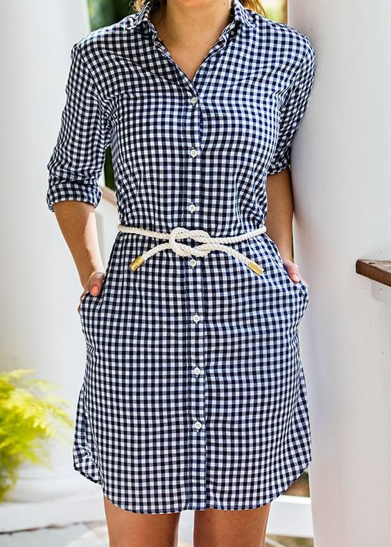 Hemdkleid Modelle Schwarz Langarmtaschen Seilgürtel Karomuster   – Elbise Modelleri