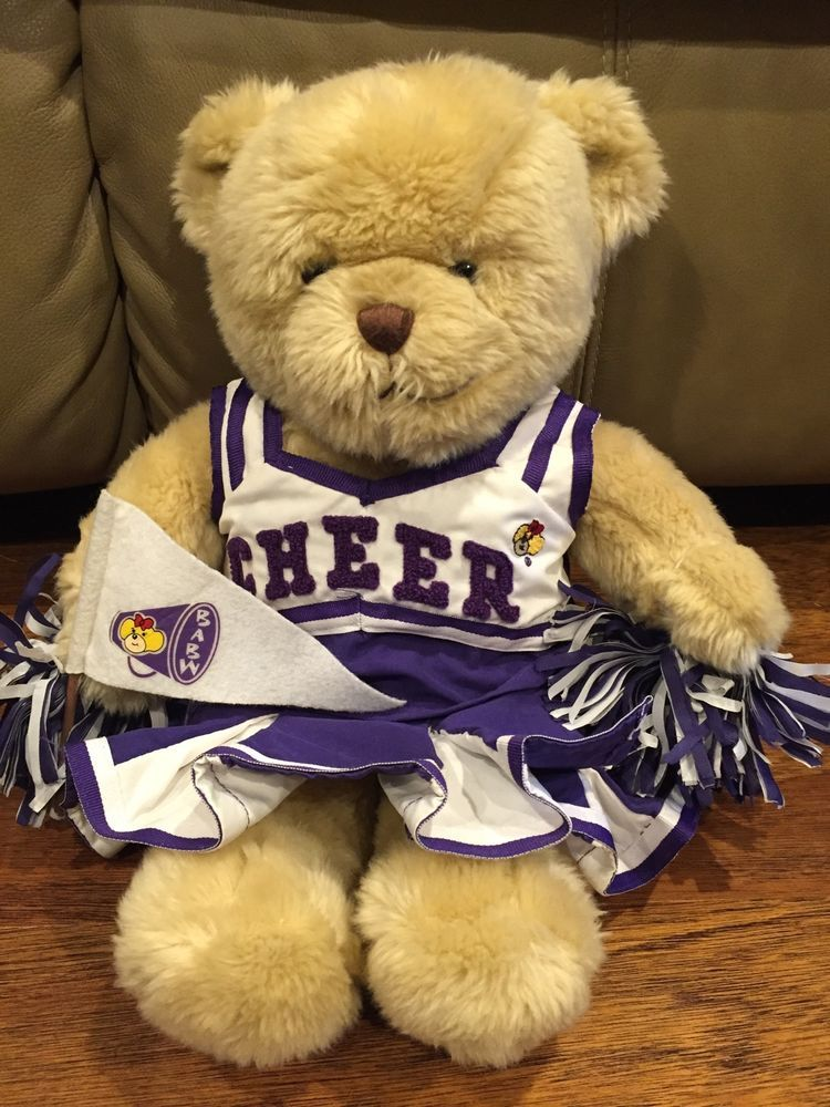 Build a bear cheerleader purple white uniform bear euc