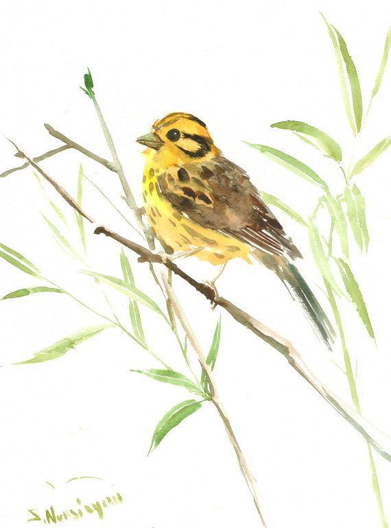 Yellowhammer Original Watercolor Painting 12 X 9 In Bird Lover Art Bird Lover Painting Lovers Art Watercolor Paintings Original Watercolor Painting