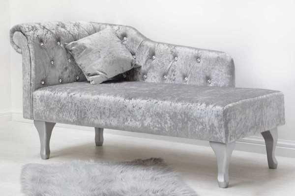 Beaumont Elegant Crushed Silver Velvet Fabric Diamante Chaise Longue on velvet recliner, velvet loveseat, velvet chaise lounge, velvet headboards, velvet curtains, velvet bedding,