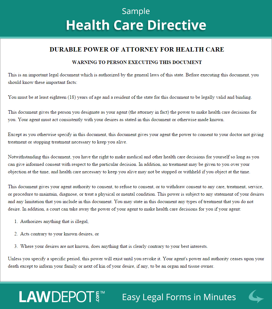 Living Will Forms Free Health Care Directive Template Us Lawdepot Health Care Personal Health Health