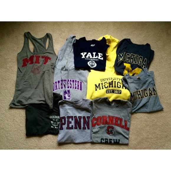 UPDATED: college apparel, perfect condition WHAT IS LEFT: Northwestern sweatshirt: M and runs a little big, reversible University of Michigan tank: L College apparel Tops